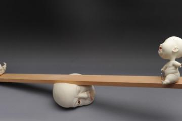 Surrealist ceramic babies by Johnson Tsang
