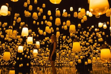 Forest of Resonating Lamps by teamLab