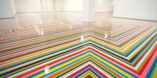 Jim Lambie: vinyl tape installation