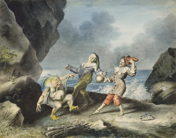 The Tempest, Act II Scene 2, Caliban, Stephano and Trinculo dance on the seashore. Artist: Johann Heinrich Ramberg