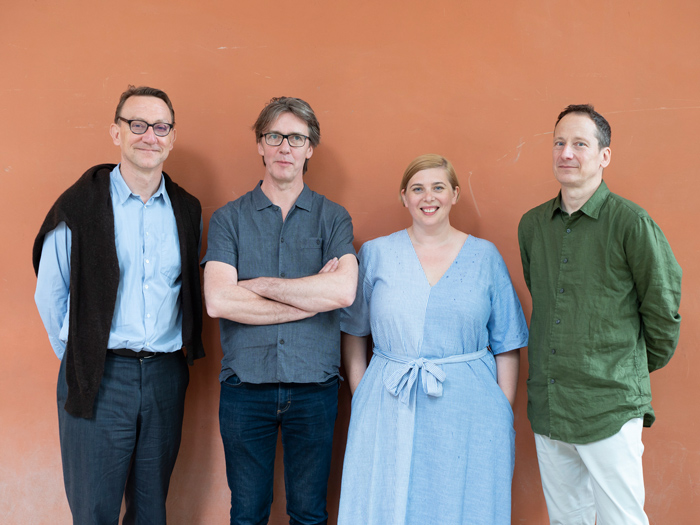 British Pavilion Curators and Commissioner 2018: Peter St John, Marcus Taylor, Sarah Mann, Adam Caruso © British Council, photo by Cristiano Corte