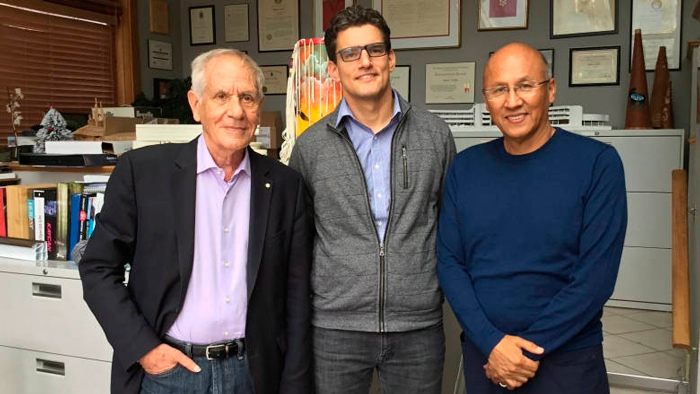 From left to right: Douglas Cardinal and the co-curators of the Canadian Pavilion at the Venice Biennale of Architecture 2018, David Fortin and Gerald McMaster