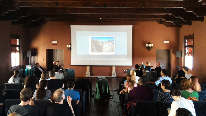 "Kenneth Frampton at the conference ""The Mies Crown Hall American Prize 2018 - Publication Press Preview and Panel"" at the Palladio Hotel, Venice, organized by ACTAR Publishing and IITAC Press, May 25, 2018 - Image courtesy of the PhotoPhore"