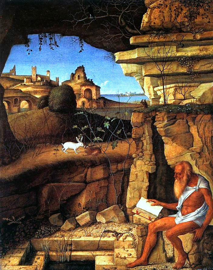 Giovanni Bellini, St Jerome Reading in the Countryside, 1505. National Gallery of Art.