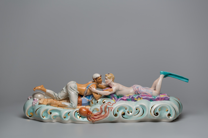 Mare Mediterraneum #2, AES+F, 2018, porcelain, hand painted, 17 x 57 x 16.3 cm. © AES+F | ARS New York, Photo by Alexander Lepeshkin, Courtesy of artist, Noirmontartproduction and MAMM