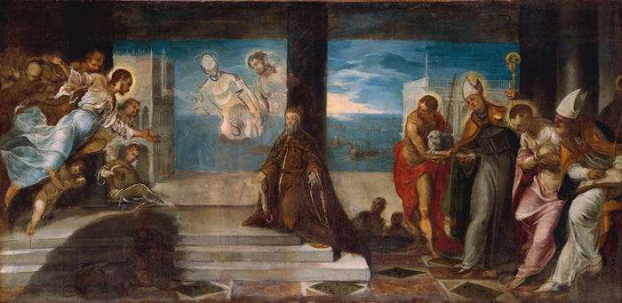 Jacopo Robusti, aka Tintoretto, Doge Alvise Mocenigo Presented to the Redeemer, 1571-1574