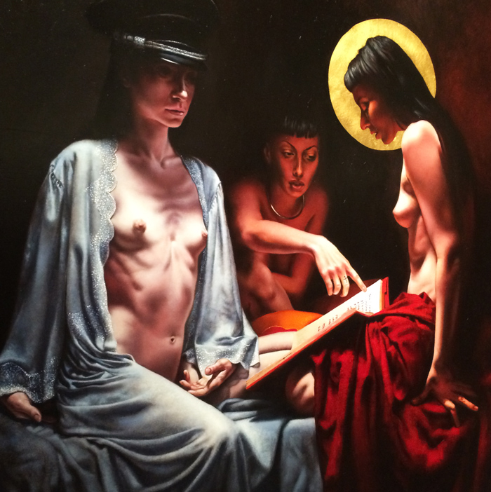 Saturno Buttò, La conversazione [The Conversation], Oil on wood, 120x120 cm [Detail] Photo by the PhotoPhore. Image courtesy of Saturno Buttò