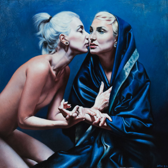 Saturno Buttò, L'Angelo e la Vergine [The Angel and the Virgin], Oil on wood, 70x70 cm Photo by the PhotoPhore. Image courtesy of Saturno Buttò
