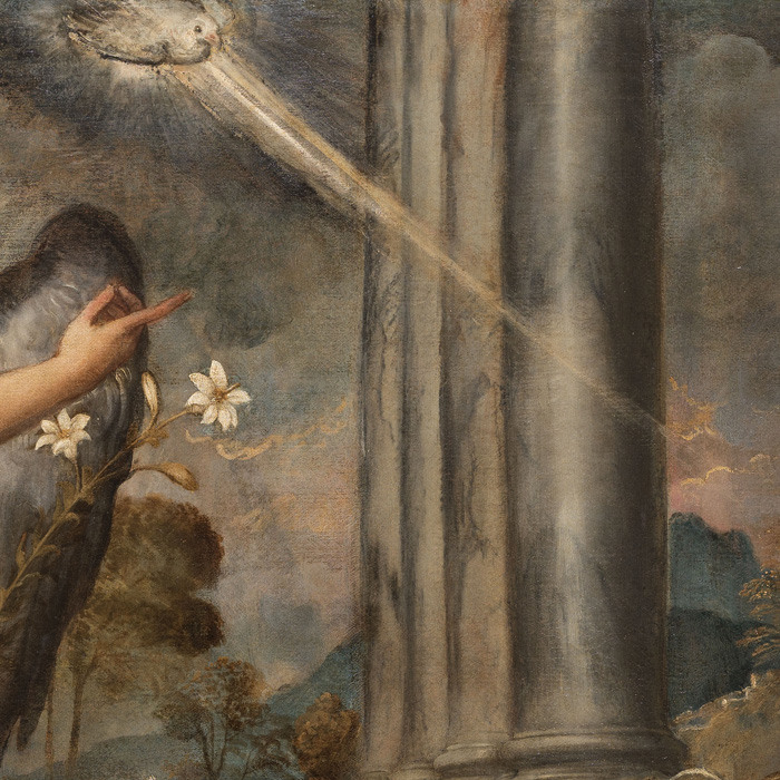Titian, Annunciation, 1539 ca., [detail] Oil on canvas, 166 x 266 cm Venice, Scuola Grande Arciconfraternita di San Rocco