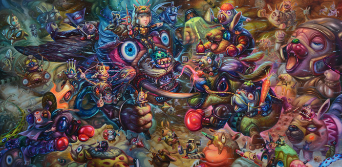 Aof Smith, Final Ravage, 2017. Oil on linen, 190x370 cm | Image Courtesy of Aof Smith