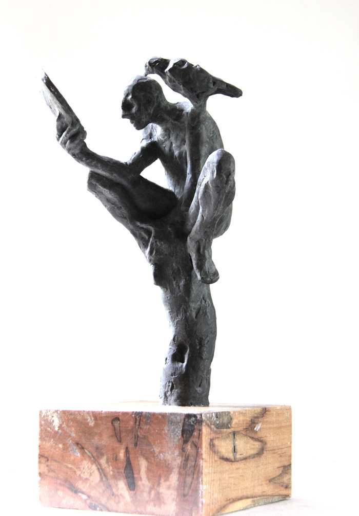 Belgin Yücelen, Man and the bird, Bronze and Wood, 14x5x5 in. Courtesy of the artist.