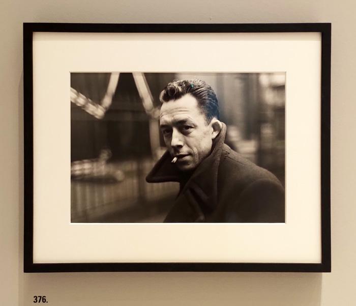 """Henri Cartier-Bresson. LeGrand Jeau - Palazzo Grassi, Venice - The artwork is: """"376. Albert Camus, Paris, France, 1944"""" by Henri Cartier-Bresson - Photo by the PhotoPhore"""