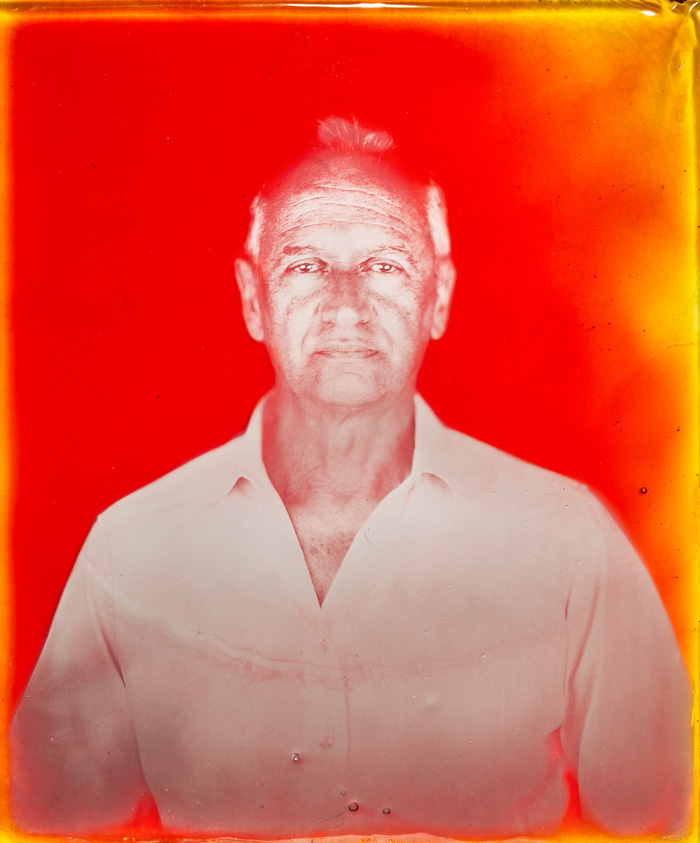 Marcin Gierat, Portrait of Marco Nason, CEO NasonMoretti, 2019. Wet Collodion photography on Murano glass. 35x43 cm. Courtesy of the artist and Zuecca Projects, Venice
